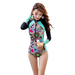 $enCountryForm.capitalKeyWord NZ - Long Sleeve Bathing Suit Women Zipper Swim Wear Rash Guards One Piece Swimsuit Slim Girls Surfing Swimming Clothes Nylon RASHGUARD Beachwear