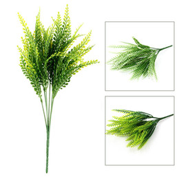 Green Plastic Grass Plant Australia - Artificial Green Plant Leaves Plastic Grass Decorative Flowers Artificial Flowers For Home Decoration Artificial Grass