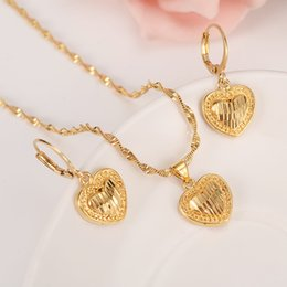 AfricAn dubAi 18k gold plAted set online shopping - 18 k Solid gold GF Necklace Earring Set Women Party Gift Dubai love heart crown Jewelry Sets bridal party gift DIY charms girls