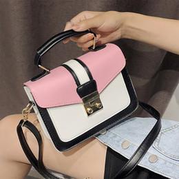 Color Leather Bags Australia - Hit Color Women Handbag Top-handle Women Messenger Bags Stylish Geometric Females Crossbody Bag Fashion Pu Leather Bag For Girls