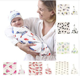 Summer Infant Bath NZ - Baby Swaddles Dinosaur Flamingo Newborn Blankets with Hats 10 Styles Cotton Bath Summer Infant Stripe Wrap Sleepsack Stroller Cover Play Mat