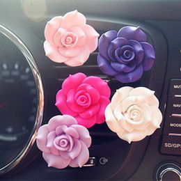 perfume romantic NZ - 1pc Romantic Camellia Air Freshener with Clip Car Styling Perfume For Air Condition Vent Outlet Fragrance Auto Flower Decoration