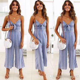 Sexy Suit Bows NZ - Women Jumpsuits Striped Printed Sexy Shoulder-straps Bow Suits Ninth Wide-leg Jumper Summer Blue & White Contrast Color