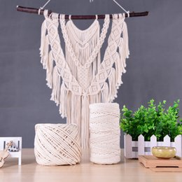Meetee 1 5mm Natural Beige Cotton Twisted Macrame Cord Rope Craft DIY Handmade String Wall Hangings Home Textile Decor AP266