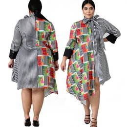 plus size dress styles Canada - Big Size 2XL--6XL Printed Stripes Womwn Shirt Dresses Bow Neck Long Sleeves Asymmetric Styles Dresses A Line Knee Length Plus Size