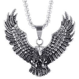 Vintage Eagle Pendant Australia - Vintage Animal Eagle Pendant Necklace Silver Gold Chain Necklace Hip Hop Necklace Long Punk Pendants Lovers Gift