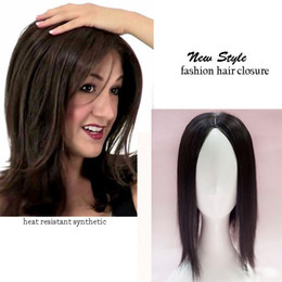 Light Brown Closure Australia - Silk Base Mono Lace hair toupee thin skin natural Hair Topper Party Hairpiece Women Straight hair replacement clip in closure