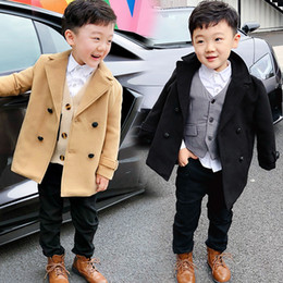 wedding coat blue color Canada - Boys Wool Coats Spring Autumn Kids Blend Fashion Outerwear For Baby Boys Children Wedding Clothing Jackets Outfits 2 3 4 5 6 7Y