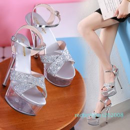high heels sandals size 34 NZ - bridal wedding shoes sparkly sequined silver black cross strap high heel shoes designer sandals size 34 to 39 r08