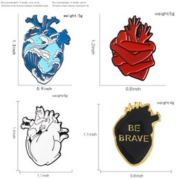emerald clothing UK - Art Organ Heart Enamel Pin Blue Wave Brave Cats Hands Heart Brooch For Doctor Denim Shirt Bag Clothes Lapel Pin Medical Jewelry