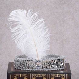 Dance Hair Australia - New kids baby Girl Arrival Party Dance Ostrich Feather Headband Indian Sequins Feather Hair Band Fashion Show Props Headdress