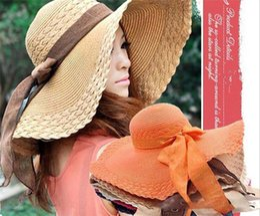 Floppy Beach Hat Large Australia - 60pcs women Wide Large Floppy Brim Summer Beach Sun Straw Beach Derby Hat Cap