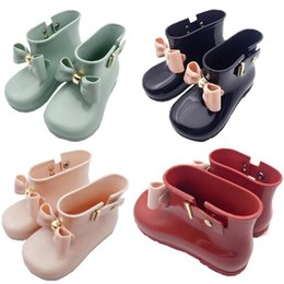 Wholesale Mini Melissa Bow Rain Boots Girls Baby Toddler Jelly Non Slip Boots Kids Designer Water Shoes Cute Short Princess Ankle Boots A6504