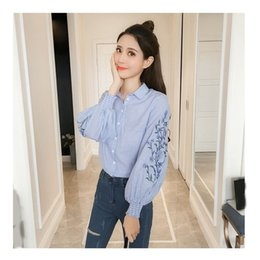 long sleeve ruffle blouses Australia - 2019 Loose Women Stripped Shirts Turn Down Collar Embroidery Blouses Casual Lantern Long Sleeve Ruffle Shirts