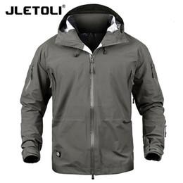 Wholesale windbreaker shell for sale – winter JLETOLI Waterproof Jacket Windbreaker Winter Outdoor Hiking Jacket Men Women Coat Windproof Hard Shell Jacket Tactics Clothes T190919