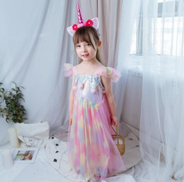 rainbow clothes for kids 2020 - kids designer clothes girls 2019 Summer Princess Dress for Girls Sequins Pom pom Rainbow Gauze Beach Holiday Dress kids