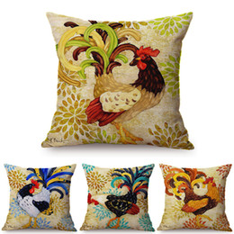 handmade painting sofa cushion 2020 - Colorful Cock Oil Painting Art Chicken Rooster Throw Pillow Cover Home Decorative Cotton Linen Sofa Cushion Cover Car Pi