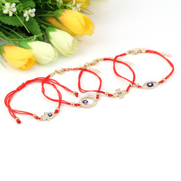 $enCountryForm.capitalKeyWord NZ - Turkish Blue Evil eye Charm Wrap Bracelets For Women crystal Fatima Hamsa Hand Cross charm Red String Rope Bangle Fashion Jewelry