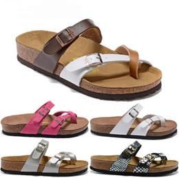 Beach Shoes 47 Australia - Arizona New Summer Beach Cork Beach Slipper Flip Flops Toe Sandals Women Color Casual Slides Shoes Flat 34-47