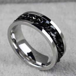 mens gold silver rings Australia - BC Jewelry Fashion Spinner Chain Ring For Men Gold & Black & Silver Stainless Steel Chain Wholesale Mens Jewelry BC-00698018#