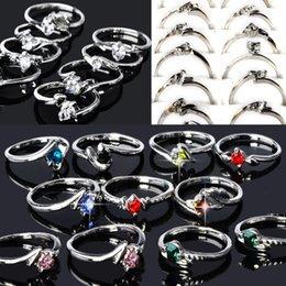 100 pcs Atacado Lotes Moda Jóias Cristal Cz Rhinestone Anéis De Prata Para As Mulheres Do Partido Anel De Casamento Navio Livre SH190726 venda por atacado
