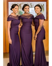 Plus Size Wedding Dresses Dark Purple Australia - Cheap Black Girls Nigerian African Dark Purple Bridesmaid Dresses Sheer Jewel Neck Wedding Guest Gowns Maid of Honor Plus Size Dress