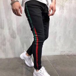 Long bLack stretch pants online shopping - Brand New Mens Jeans Mens Designer Skinny Ripped Yellow Red Stripes Pants Mens Stretch Slim Biker Jeans