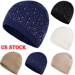 f16397721f9 Women Cotton Knitted Warm Cap Diamonds Glistening Hat Christmas Gift Winter  Skullies Beanies Hat