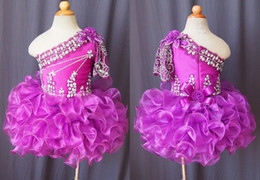 Purple Cupcakes Australia - Lovely Purple Short Cupcake Pageant Dresses For Little Girls Toddler Infrant One shoulder Ruffle First Communion Prom Formal Dress For Kids