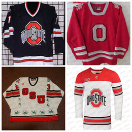Wholesale Custom Ohio State Buckeyes 2019 NCAA College Hockey Jersey White Red Stitched Any Number Name Jersey S-3XL