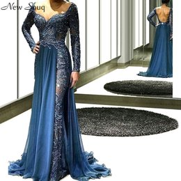 sexy part dresses NZ - Middle East Sexy Backless Evening Dresses Mermaid Muslim Long Sleeve Formal Dress Robe De Soiree Saudi Arabia Prom Part Dress