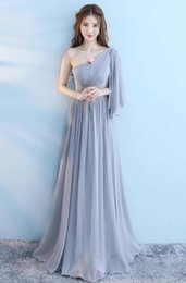 Wedding Dresses Size Xs Australia - Wedding Sisters Dress Long Bridesmaid Dress New Autumn Polyester Big Size Grey One Color Graduation Long One Piece Elegant Dress