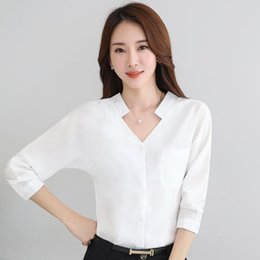 $enCountryForm.capitalKeyWord NZ - Women Elegant Summer Shirt 2017 Ol Formal V-neck Slim Solid Full Sleeve Chiffon Blouse Office Ladies Work Wear Tops 8275 Y190417