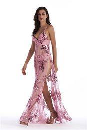 $enCountryForm.capitalKeyWord Australia - Womens Summer Sequined Split Dresses V Neck Sexy Floor Length Fashion Female Clothing Night Club Bohemian Style Apparel