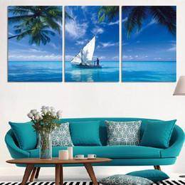 wall scenery posters NZ - Modern Home Decor Living Room Canvas 3 Panel Blue Ocean Scenery Frame Wall Artwork Poster HD Print Painting Modular Pictures