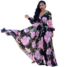 2019 NEW Deep V Neck Long Lantern Sleeve Floor Length Dress Spring Plus Size Beach Maxi Dress