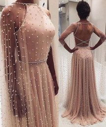 $enCountryForm.capitalKeyWord UK - Beaded Pearls A Line Prom Dresses With Wraps Halter Criss Cross Open Back Girls Pageant Gowns Floor Length Women Formal Party Clothing