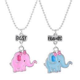 Red elephant jewelRy online shopping - 2PCS Pair quot Best Friends quot Necklaced Enamel Elephant Pendant Necklaces Kids Necklace For Children Jewelry Birthday Gifts