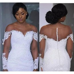 $enCountryForm.capitalKeyWord NZ - New Luxury African Black Girl Mermaid Wedding Dresses Off Shoulder Sheer Neck Lace Appliques Long Sleeves Court Train Plus Size Bridal Gowns