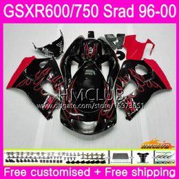98 Srad Fairing Red Australia - Body For SUZUKI SRAD GSXR 750 600 1996 1997 1998 1999 Red flames 2000 Kit 1HM.17 GSX-R750 GSXR-600 GSXR750 GSXR600 96 97 98 99 00 Fairing