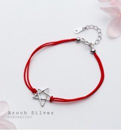 $enCountryForm.capitalKeyWord Australia - S925 Silver Bracelet, Small And Pure And Fresh Pentagram Bracelet Temperament Contracted Red Rope Hand Act The Role Ofing Is Tasted