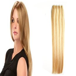 remy hair extensions 18 613 2019 - P27 613 Ombre Virgin Brazilian Straight Remy Hair 100g PU Skin Weft Tape In Human Hair Extensions 40 pcs Tape Hair Exten