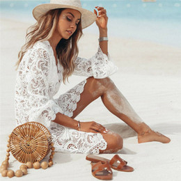 halter crochet swimsuit NZ - Summer Women Bikini Cover Up White Floral Lace Hollow Crochet Swimsuit Cover-Ups Bathing Suit Beachwear Tunic Beach Dress T200517