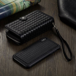zipper wallet case Australia - Luxury Woven Leather Case For iPhone XS MAX X XR 7 8 Plus Zipper Wallet Case For iPhone 5 5S SE 6 6s Detachable Phone Bag Cases