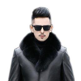 Discount suit scarves men - Men Suit Collar Fur Scarf 90cm Winter Thicker Real Fox Fur Collar Detachable Leather Clothing Solid Scarf Women
