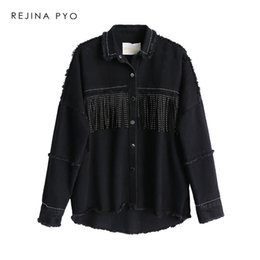 streetwear jackets NZ - REJINAPYO Women Black High Quality Loose Denim Jacket Coat Sequined Tassels Streetwear All-match Mental Covered Button Outerwear Y200101