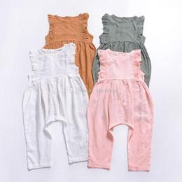$enCountryForm.capitalKeyWord Australia - Baby girls boys Flying sleeve romper infant ruffle Jumpsuits 2019 summer fashion Boutique kids Climbing clothes C5796