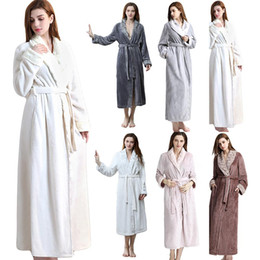 thick bathrobes 2019 - Winter Thick Warm Lovers Couple Flannel Kimono Robe Sleepwear Large Long Nightwear Bathrobe Hotel Spa Nightgown discount