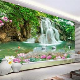 RiveRs photos online shopping - Custom Photo Mural Wallpaper HD Waterfall River White Swan Green Tree Nature Pastoral Landscape D Mural Wallpaper For Walls D