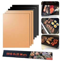 Discount mat wholesale - Non-Stick BBQ Grill Mat 33*40CM Thick Durable Gas Grill Barbecue Mat Reusable No Stick BBQ Grill Mat Sheet Picnic Cookin